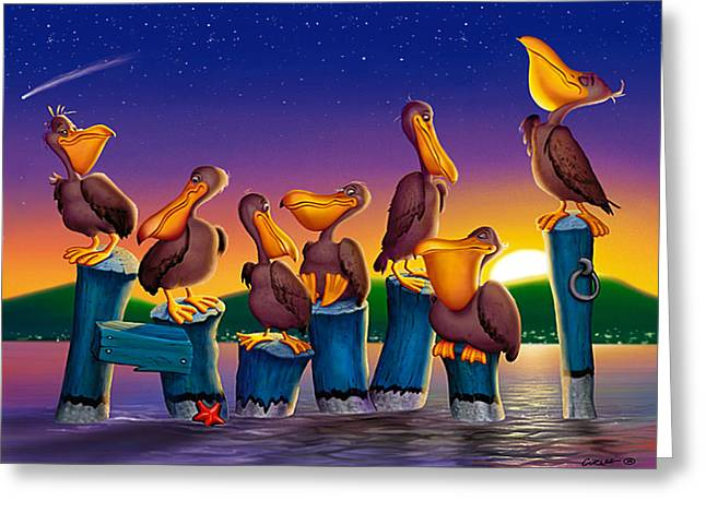 Sea Birds Greeting Cards - Pelican Sunset Whimsical Cartoon Tropical birds Seascape print blue orange purple yellow Greeting Card by Walt Curlee