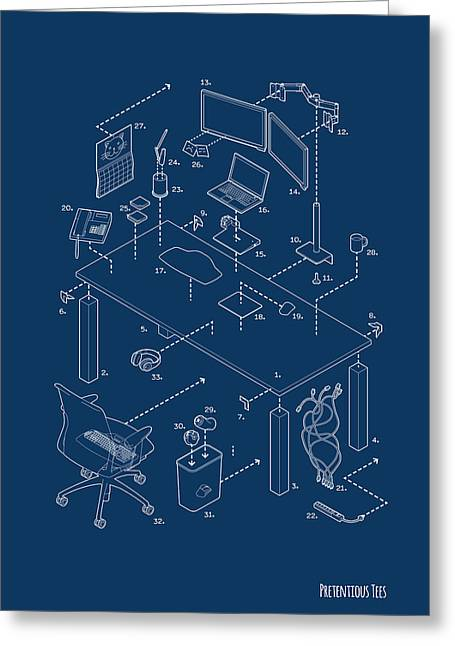 Cubicle Greeting Cards - Exploded Modern Workspace Greeting Card by Eric Raezer