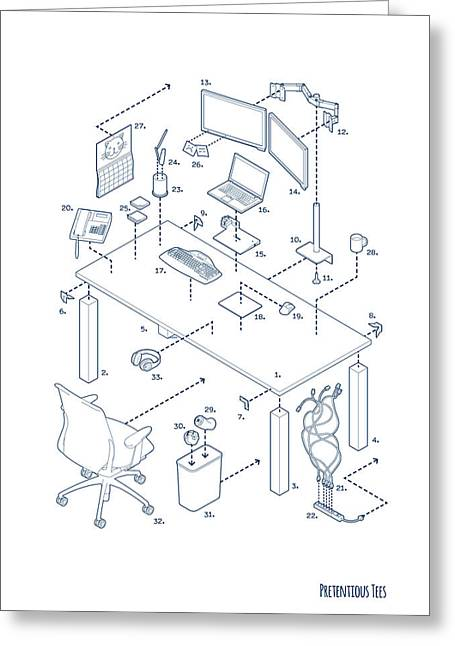 Office Space Drawings Greeting Cards - Exploded Modern Workspace Greeting Card by Eric Raezer