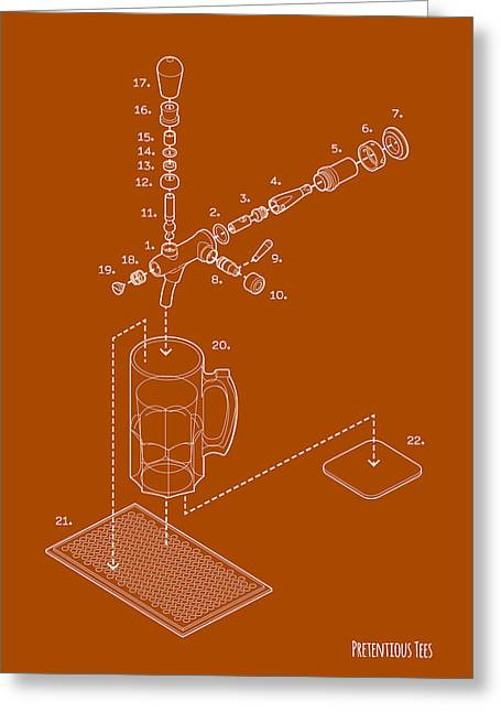 Bartender Drawings Greeting Cards - Exploded Beer Tap Greeting Card by Pretentious Tees