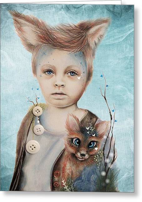 A Boy And His Fox   Greeting Card by Sheena Pike