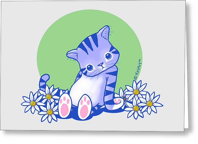 Kim Drawings Greeting Cards - Yittle Kitty Greeting Card by Kim Niles