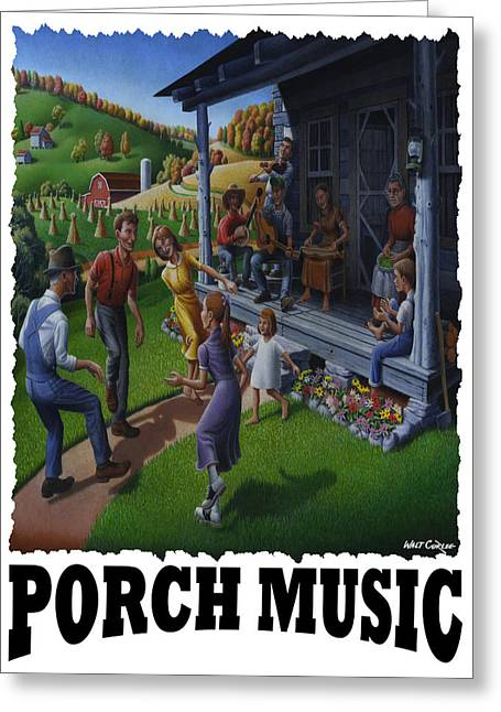 Folk Dancing Greeting Cards - Porch Music - Mountain Music  Greeting Card by Walt Curlee
