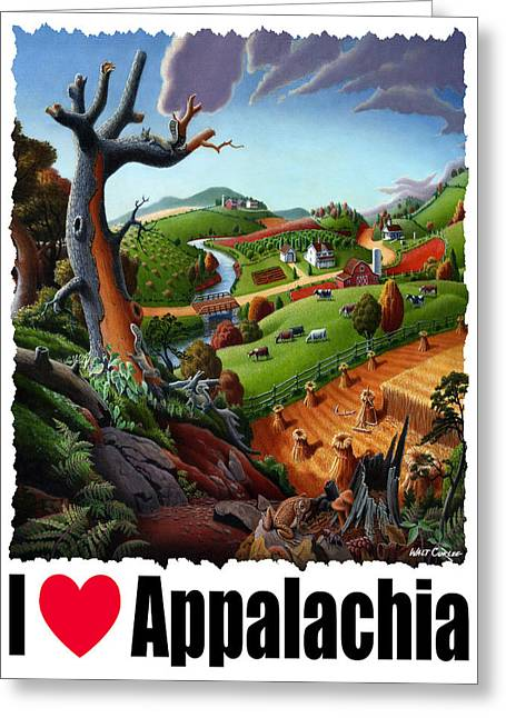 Redlin Greeting Cards - I Love Appalachia T Shirt - Deer Chipmunk High Meadow Appalachian Landscape Greeting Card by Walt Curlee