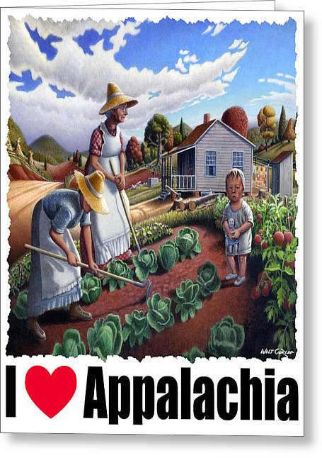 Amish Family Greeting Cards - I Love Appalachia - Family Garden Appalachian Farm Landscape Greeting Card by Walt Curlee