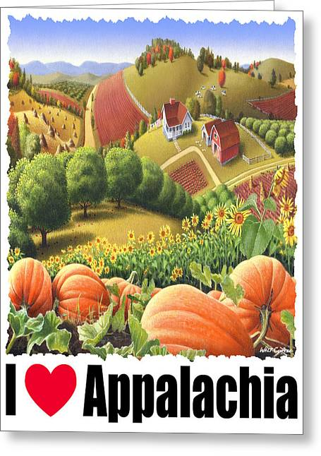 Md Paintings Greeting Cards - I Love Appalachia - Appalachian Pumpkin Patch - Rural Farm Landscape Greeting Card by Walt Curlee
