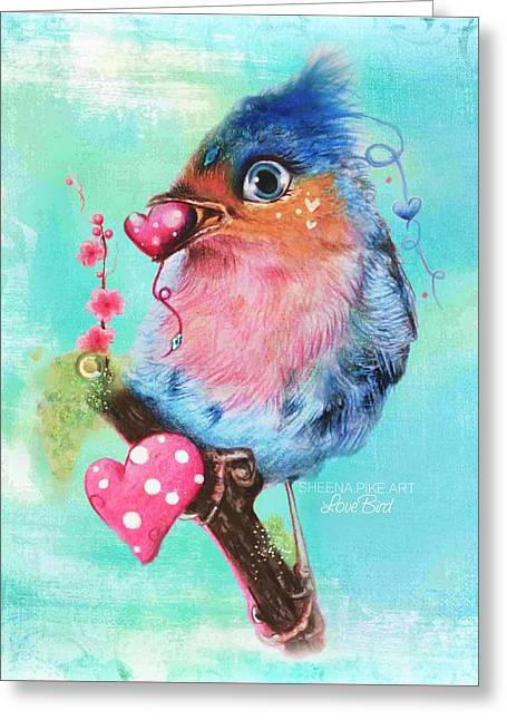 Cute Mixed Media Greeting Cards - Love Bird Greeting Card by Sheena Pike