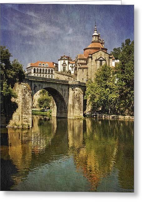 Historic Bridge Photographs Digital Greeting Cards - moody Amarante Greeting Card by Mikehoward Photography