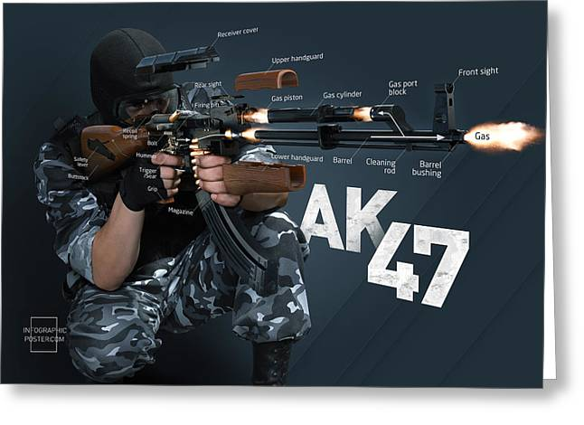 Ak-47 Infographic Greeting Card by Anton Egorov
