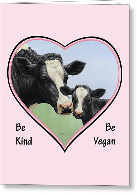 Animals Love Greeting Cards - Holstein Cow and Calf Pink Heart Vegan Greeting Card by Crista Forest