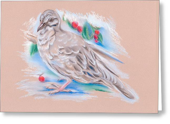 Dove Pastels Greeting Cards - Winter Mourning Dove Greeting Card by MM Anderson
