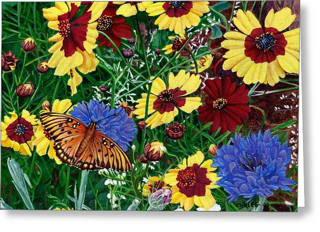 Sulphur Spring Greeting Cards - Butterfly Wildflowers garden oil painting Floral green blue orange-2 Greeting Card by Walt Curlee