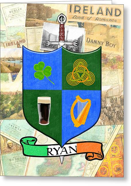 Irish Coat Of Arms - Ryan Greeting Card by Mark E Tisdale