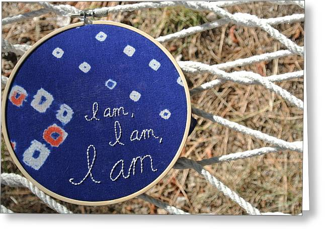 Religious Tapestries - Textiles Greeting Cards - I am, I am, I am Greeting Card by Tiny Affirmations
