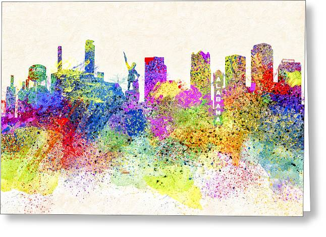 Birmingham Alabama Skyline Art Greeting Card by Mark E Tisdale
