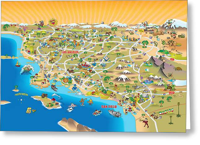 Californication Greeting Cards - Sunny Cartoon Map of Southern California Greeting Card by Dave  Stephens