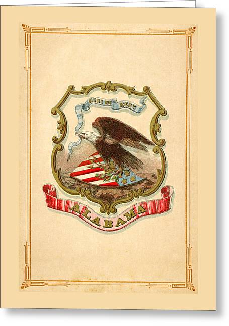 1876 Digital Greeting Cards - Alabama Historical Coat of Arms circa 1876 Greeting Card by Serge Averbukh