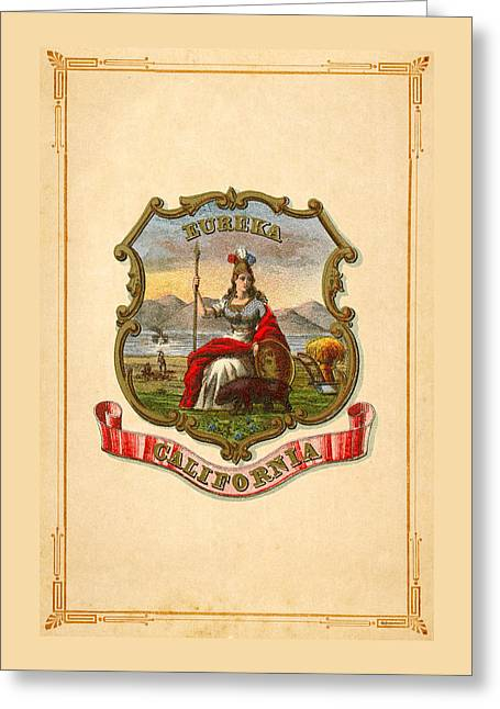 1876 Digital Greeting Cards - California Historical Coat of Arms circa 1876 Greeting Card by Serge Averbukh