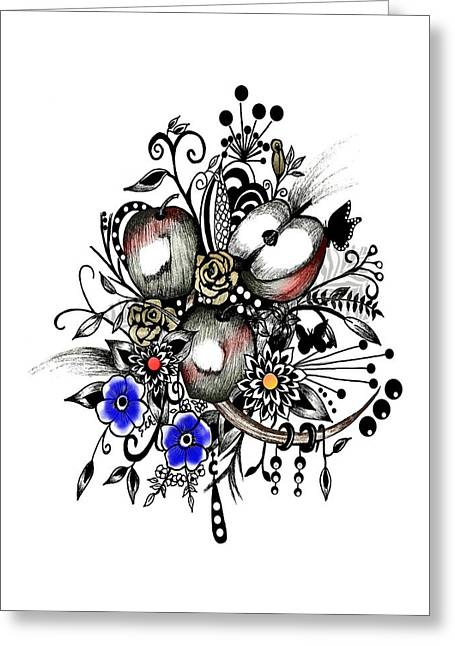 Pen And Ink Drawing Greeting Cards - Pen and Ink Drawing APPLES wall decor  Greeting Card by Saribelle Rodriguez