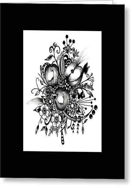 Pen And Ink Drawing Greeting Cards - Pen and ink Drawing APPLES Black and white art Greeting Card by Saribelle Rodriguez