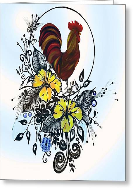 Pen And Ink Drawing Greeting Cards - Pen and ink drawing Rooster art watercolor and digital art Greeting Card by Saribelle Rodriguez