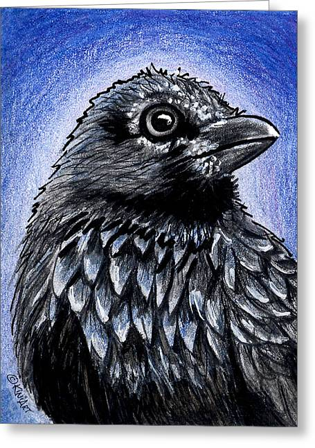 Raven Drawings Greeting Cards - Raven Greeting Card by Kim Niles
