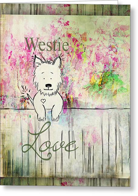 Puppies Drawings Greeting Cards - Westie Love West Highland Terrier Art Greeting Card by Christina VanGinkel