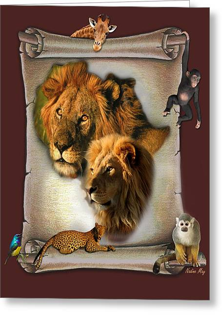 Zimbabwe Digital Art Greeting Cards - The Lion King from Africa Greeting Card by Nadine May