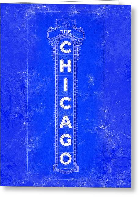 Chicago Theatre Sign - Blueprint Greeting Card by Mark Tisdale