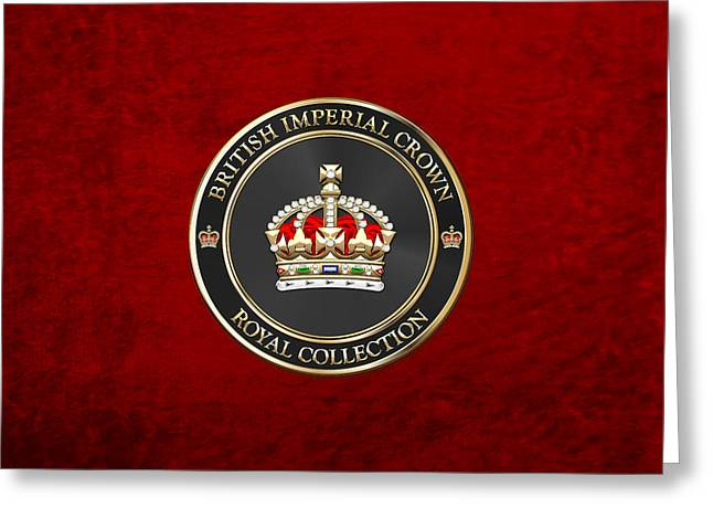 Royal Collection - British Imperial Crown On Red Greeting Card by Serge Averbukh