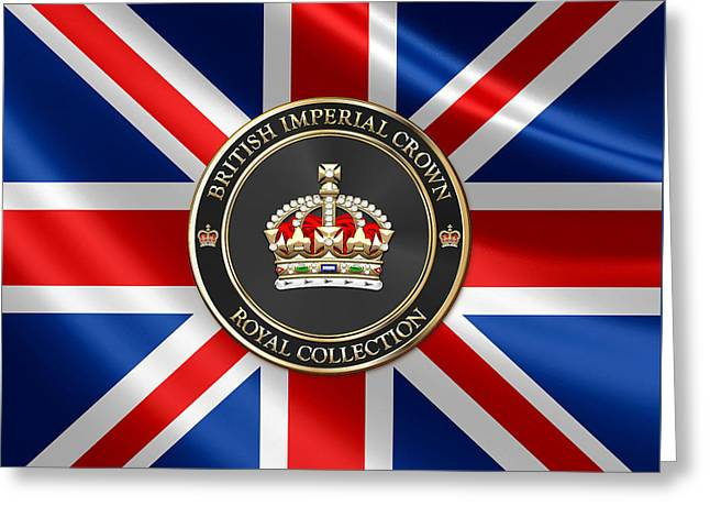 Royal Collection - British Imperial Crown Over Flag Of The United Kingdom Greeting Card by Serge Averbukh