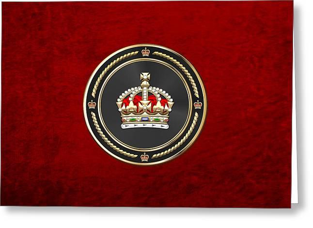Imperial Tudor Crown Over Red Velvet Greeting Card by Serge Averbukh