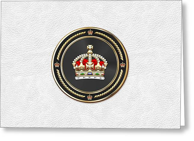 Imperial Tudor Crown Over White Leather Greeting Card by Serge Averbukh