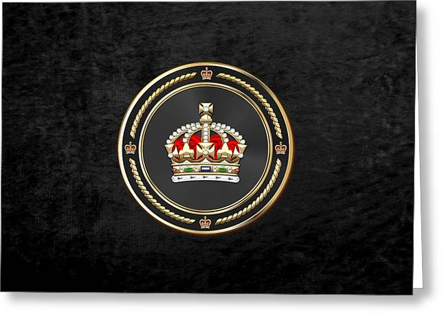 Imperial Tudor Crown Over Black Velvet Greeting Card by Serge Averbukh