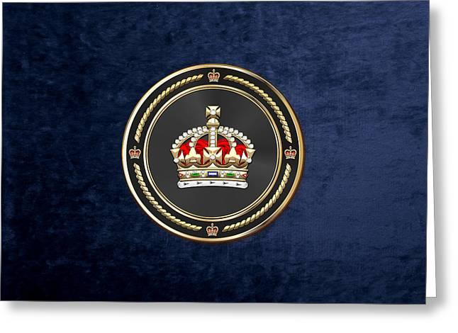 Imperial Tudor Crown Over Blue Velvet Greeting Card by Serge Averbukh