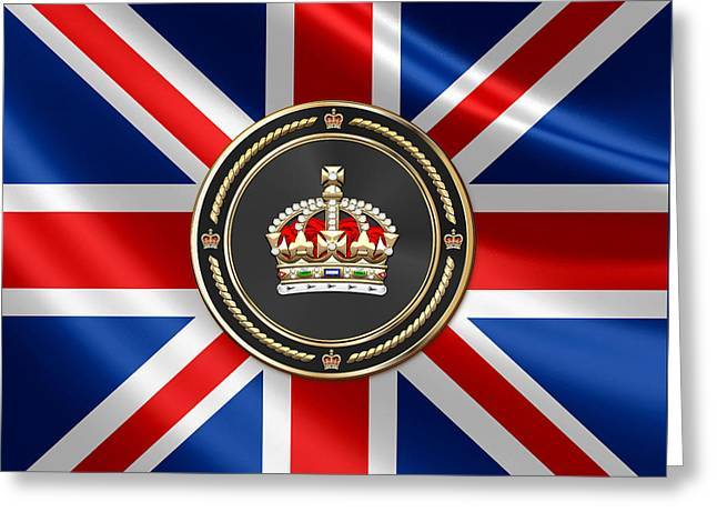 Imperial Tudor Crown Over Flag Of The United Kingdom Greeting Card by Serge Averbukh