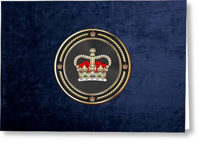 St Edward's Crown - British Royal Crown Over Blue Velvet Greeting Card by Serge Averbukh