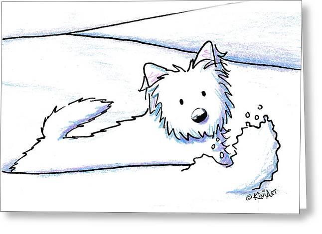 Kiniart Westie Snow Plow Greeting Card by Kim Niles