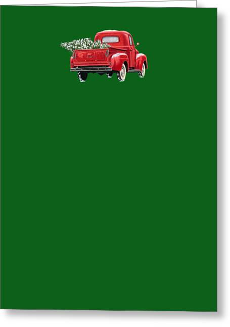 Christmas Tree Truck- Transparent Background Greeting Card by Sarah Batalka