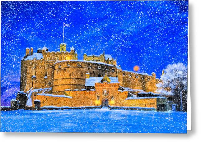 Snow Falling On Edinburgh Castle Greeting Card by Mark Tisdale