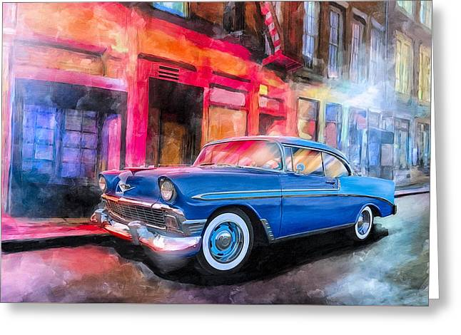 Classic Nights - 56 Chevy Greeting Card by Mark Tisdale