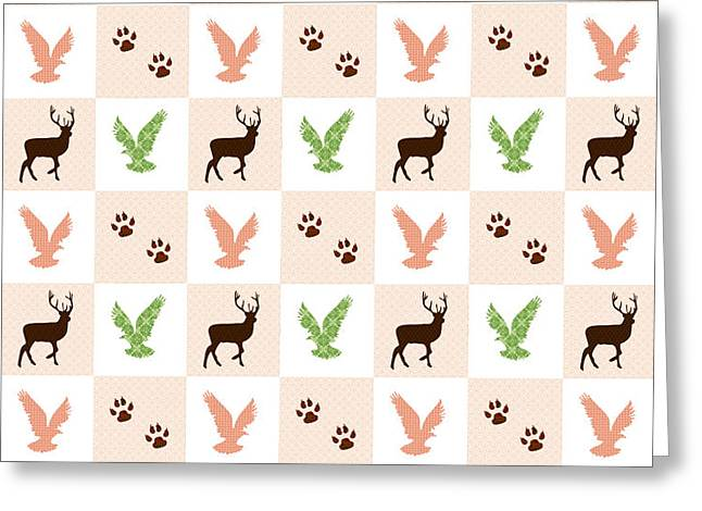 Rustic Wildlife Pattern Greeting Card by Christina Rollo