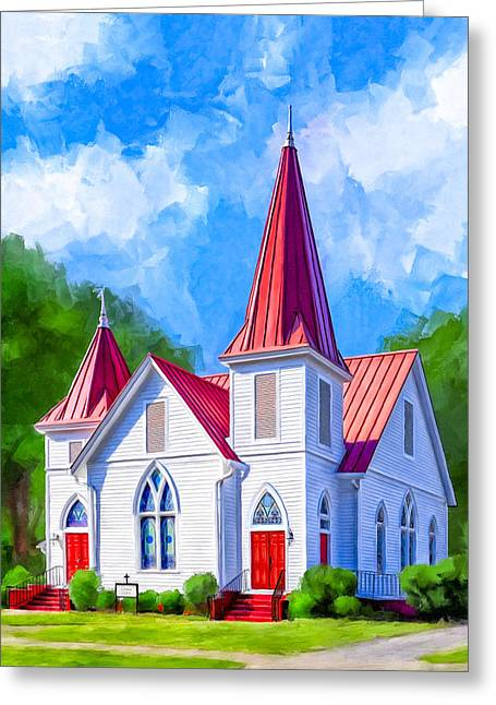 Classic American Church - Oglethorpe Lutheran Greeting Card by Mark Tisdale