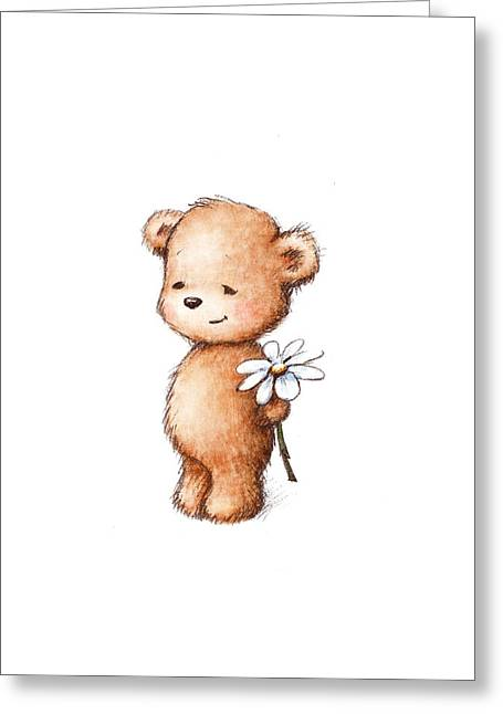 Drawing Of Teddy Bear With Daisy Greeting Card by Anna Abramska