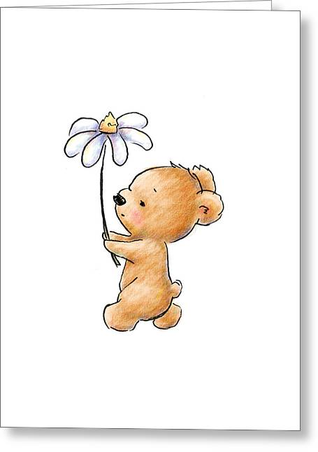 Baby Bear With Flower Greeting Card by Anna Abramska