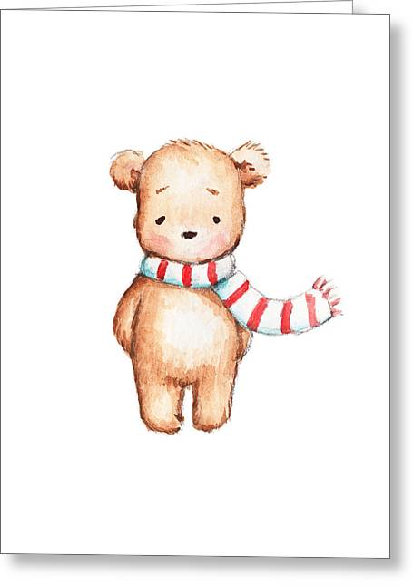 Cute Teddy Bear With Red And White Scarf Greeting Card by Anna Abramska