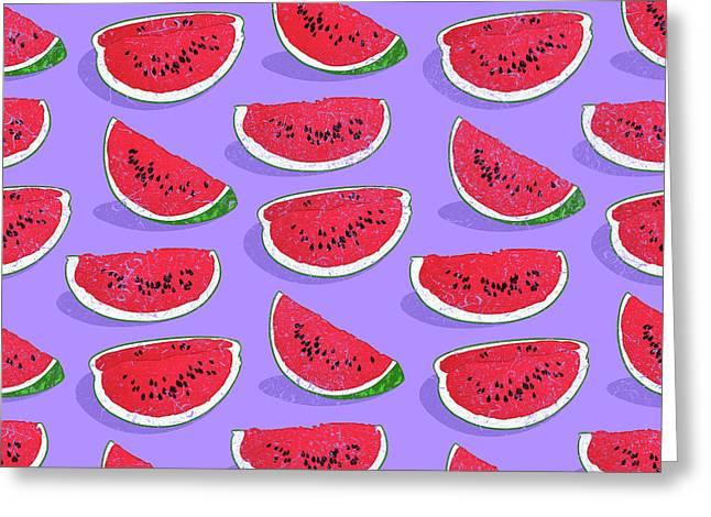 Watermelon Greeting Card by Evgenia Chuvardina