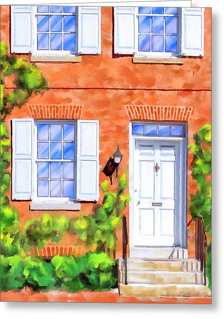 Cozy Rowhouse Style Greeting Card by Mark Tisdale