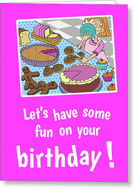 Funny Pie In Face Greeting Card by Debi Lewis