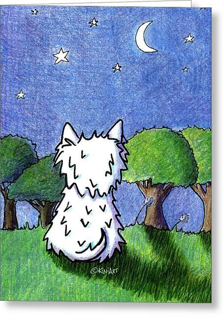 Night Sky Westie Greeting Card by Kim Niles